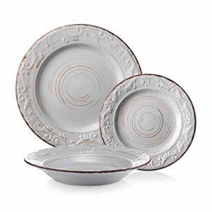 servizio 18 pezzi - piatti in porcellana - decorato antichizzato -