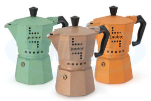 caffettiera alluminio - da 6 tazze - smaltata color bronzo - made in italy -
