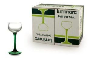 calice in vetro - piede color verde - capacita' 7,5 cl - confezione 12 pezzi -