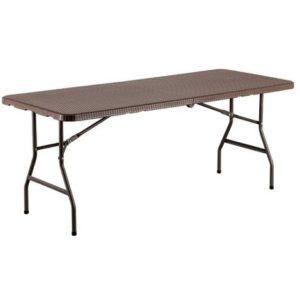 tavolo rettangolare - richiudibile a valigia - in pvc - struttura in acciaio e  rattan stampato -cm180x75x74h - color marrone -