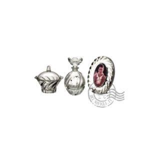 set beauty in cristallo - 3 pezzi: portafoto - portaprofumo - portacotone -