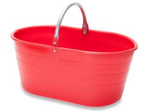 cesto in plastica ovale - con manico in ferro - capacita' 25 litri -