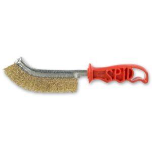 spazzola spid - in acciaio zincato giallo - manico rosso -